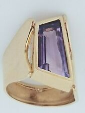 Gold Amethyst Ring Hand Made Oblong Shape Very Unique One Of A Kind 14k Yellow