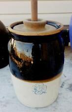 Antique 20th C  2 G Stoneware Blue Clover Butter Churn w Lid & Dasher Catawba NC