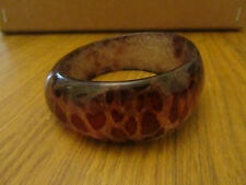 "Red Animal Print Clear & Silver Glitter Plastic Bangle 1.25"" wide 2.75"" diameter"