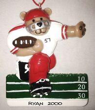 "Personalized 3 1/2"" Ryan 2000 Football Bear Ornament Figurine"