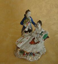 ANTIQUE AELTESTE VOLKSTEDT DRESDEN COURTING COUPLE LACE FIGURINE 1900-1936