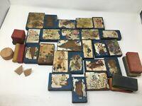 37 Piece Antique Wood Paper Lithograph Picture Blocks Building Blocks Wood Box