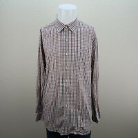 Mens Peter Millar Blue Brown Orange Striped Xl Long Sleeve Button Up Shirt