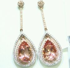 10.15CT 14K Gold Natural Morganite White Cut Diamond Vintage Engagement Earrings