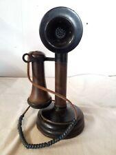 Vintage Antique Pedestal Candlestick Telephone Phone Table Top 1900's
