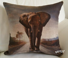 Cotton Linen Cushion Cover Pillow Case African Wild Animal Elephant - Exclusive