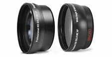 72mm HD Wide Angle & 2x Telephoto Lens Set For Camera Camcorder