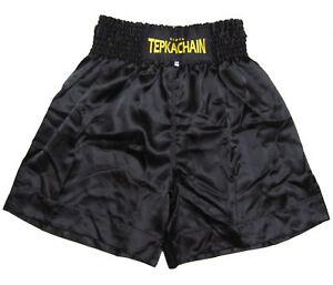 BOXING TRUNKS SHORTS PANTS ALL BLACK SATIN KICK MMA TEPKACHAIN S - 5XL #T2