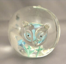 Glass Fat Cat Figure Statue Blue / Green Flowers Japan