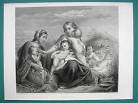 CHARITY Destitude Mother Babies - SUPERB 1850s Antique Print