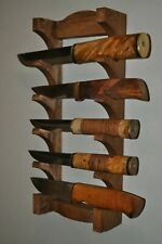 Wall mounted 5 Tier hard wood  Stand For Knife Display Holder