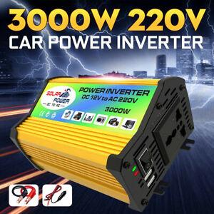 Inverter Onduleur Convertisseur 2 USB 4.2A3000W DC12V à AC220V 240V LED Power