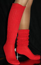 Red Slouch Knee Scrunchie Socks for Hooters Sports Long Heavy Women's