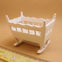 Sn _ 1/12 Casa de Muñecas Miniatura Madera Cuna Bebé Cuna Modelo Muebles