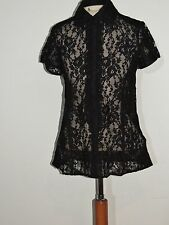 DIva Dana Buchman Black Lace Blouse NWt sz XS $148 B- 38 (sm - med OK )