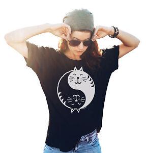 Ladies Funny CAT ORGANIC T-Shirt YIN YANG Cat Lady Lover GIFT  Birthday Womens