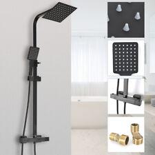 Black Shower Set Bathroom Thermostatic Mixer Square Twin Head Exposed Valve UK