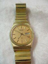 Vintage gold tone Seiko Quartz SQ Men's Watch Day Date #7123 835LR new Battery