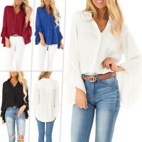 Womens 3/4 Bell Sleeve Chiffon Blouse Shirt Tops Casual Button V Neck Loose Top