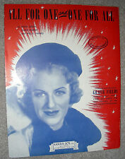 1941 ALL FOR ONE and ONE FOR ALL Vintage Sheet Music GRACIE FIELDS by Arden