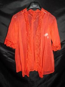 Vintage Pandora Lingerie Chic S Red Sheer Robe At Waist nightie Gown Lace Trim