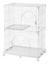 Iris Wire Pet Cage / Cat Playpen - 2-Tier - White