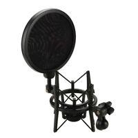 Condenser Mic Microphone Shock Mount Holder With Big Integrated Pop Filter Black