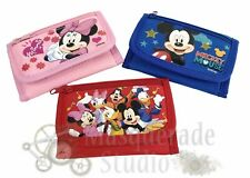 Disney Mickey Mouse & Minnie Tri-Fold Wallet Coin Purse For Kids Donald Goofy
