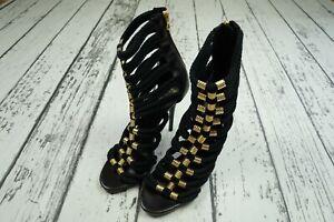NEW Balmain x H&M - Black and Gold Strappy Heels - EU 41 / US 9.5 / UK 7.5 RARE