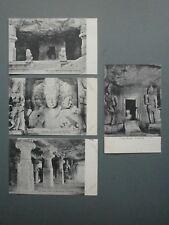 4 X C1927 POSTCARDS OF ELEPHANTA CAVE TEMPLES, BOMBAY (NOW MUMBAI)