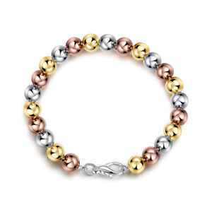 Stainless Steel Tri-color Tiny Heart Charm Chain Anklet Bracelet for Women Girls