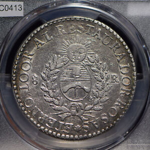 Argentina 1840 8 Reales PCGS XF rare PC0413 combine shipping