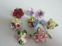 VINTAGE JOB LOT BONE CHINA FLOWERS FLORAL SCREWBACK EARRINGS BROOCHES SHAWL PINS