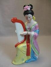 Oriental Chinese Bisque Porcelain Figurine Statue Geisha Girl Kimono Hand Harp