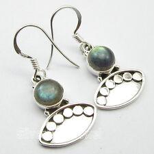 Indian Jewellery Wholesale Earrings 3.4 CM ! 925 Pure Silver LABRADORITE Gem