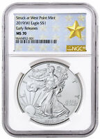 2019-(W) American Silver Eagle West Point Struck NGC MS70 ER Gold Star SKU55815