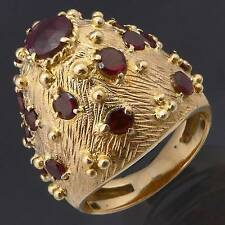 Custom Made C1960s 19 GARNET 18k Solid Yellow GOLD HIGH DOME COCKTAIL RING Sz M