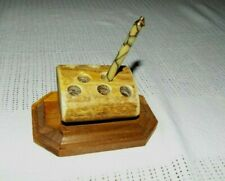 OOAK HAND MADE BONE PEN OR PENCIL HOLDER WITH ANTIQUE PEN SIGNED 2008 LOOK!!!
