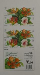 US SCOTT 3310 - 3313b BOOKLET OF 20 TROPICAL FLOWERS STAMPS 33 CENT FACE MNH