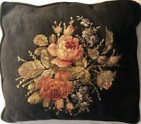 Vintage Needlepoint Pillow Roses On Black