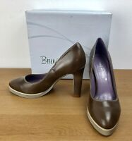 Bruna Rossi Block Heeled Shoes Size 3 Taupe Brown Platform