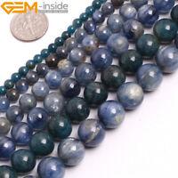 "Natural Gemstone Blue Kyanite Round Loose Beads For Jewellery Making 15"" UK"