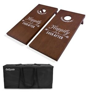 Gosports Wedding Cornhole Set Regulation Size with Solid Stained Wood Lawn Game