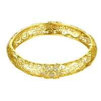 Double Row 14K Yellow Gold Plated Austrian Crystal Flex Wrap Bangle Bracelet