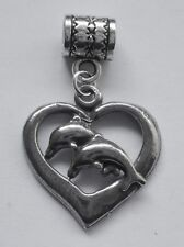 PEWTER CHARM suit European Bracelet #237 DOLPHINS in HEART (21mm x 22mm)