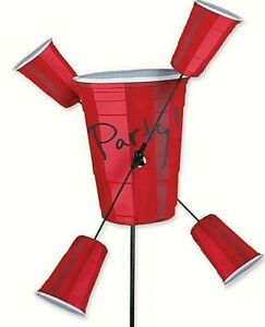 """Red Party Cups Whirligig Ground Spinner. 8"""" x 10.25"""" x 21"""" Dia. Rotates. #21862"""