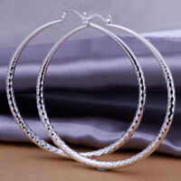 18K White Gold Plated Extra Large 70mm Crystal-Cut Round Hoop Earring ITALY MADE