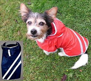 Hunde Mantel Regenmantel reflektierend wasserdicht rot blau xxs xs-M Hundemantel
