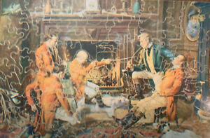 "Vintage Milton Bradley Premier Wooden Jig-Saw Puzzle ""A Good Story By a Bad Shot"