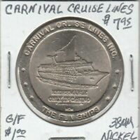 Token - Cranival Cruise Lines Casino Token - G/F $1 - 38 MM Nickel